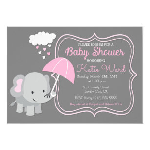 Pink elephant invitations zazzle baby elephant girl baby shower pink invitation filmwisefo