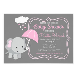 Baby Elephant Girl Baby Shower Pink Invitation