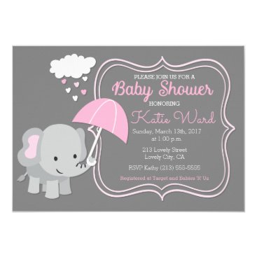 Valentines Themed Baby Elephant Girl Baby Shower Pink Invitation