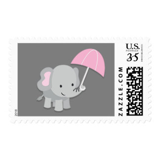 Baby Elephant Girl Baby Shower Postage Stamps