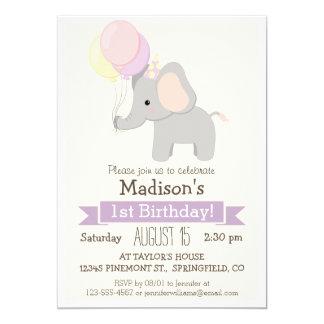 """Baby Elephant Girl's Birthday Party Invitation 5"""" X 7"""" Invitation Card"""