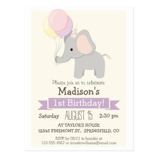 Baby Elephant Girl's Birthday Party Invitation Postcard