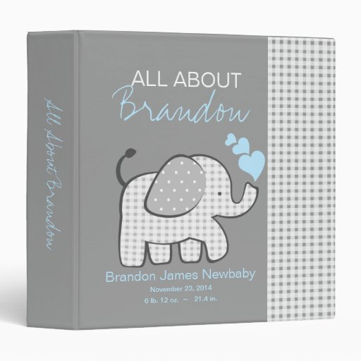 Baby Elephant Gray All About Baby Vinyl Binder