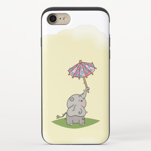 Baby elephant holding a small umbrella iPhone 8/7 slider case
