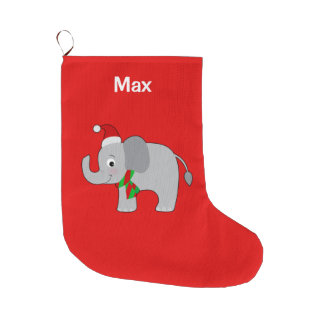 Baby Elephant in Santa Hat and Scarf Large Christmas Stocking