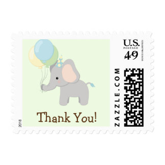 Baby Elephant; Jungle Animal Thank You Postage Stamp