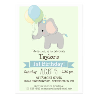 Baby Elephant Kid's Birthday Party Invitation Postcard
