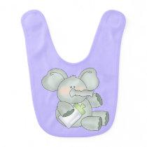 Baby Elephant Lavender Unisex Bib