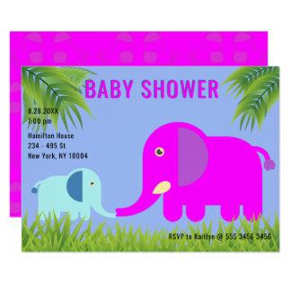 Baby Elephant   Magenta Mom Kissing  Baby Shower Card