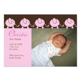 Baby Elephant Parade Birth Announcement - Pink
