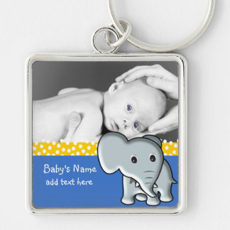 Baby Elephant/Photo Silver-Colored Square Keychain