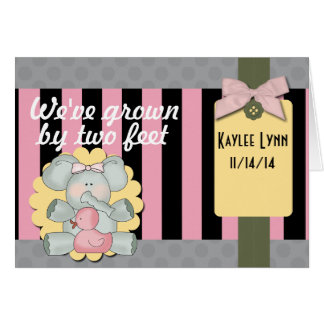 Baby Elephant Pink and Black Stripes Card