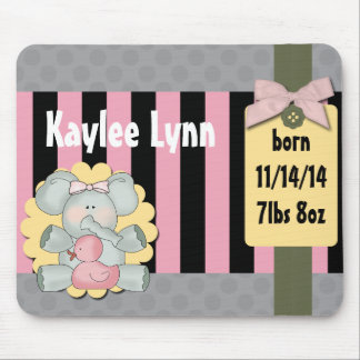 Baby Elephant Pink and Black Stripes Mouse Pad