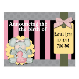 Baby Elephant Pink and Black Stripes Postcard