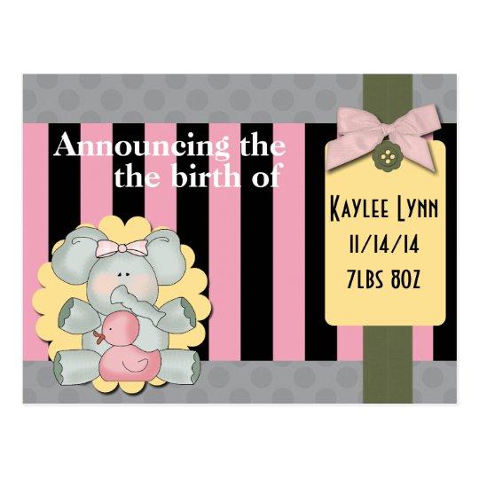 Baby Elephant Pink and Black Stripes Postcard