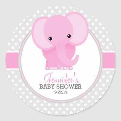 Pink Elephant Baby Shower Stickers | Zazzle.com