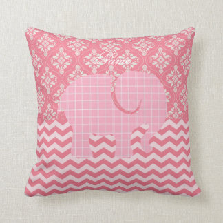Baby Elephant Pink Damask Chevron Named Throw Pillow