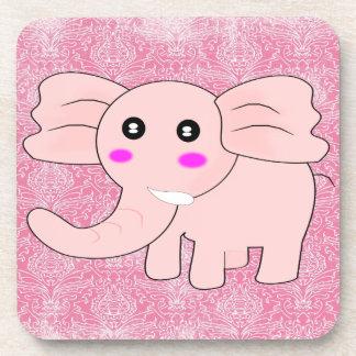 Baby Elephant Pink Damask Coaster