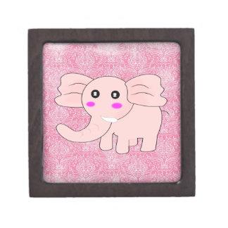 Baby Elephant Pink Damask Keepsake Box