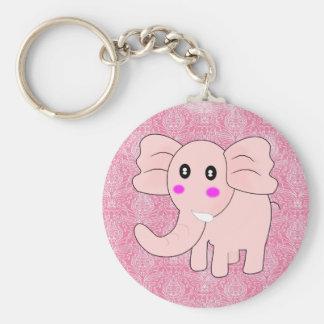 Baby Elephant Pink Damask Keychain