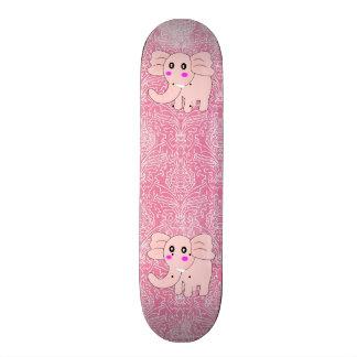 Baby Elephant Pink Damask Skateboard
