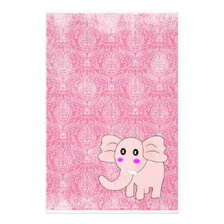 Baby Elephant Pink Damask Stationery