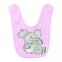 Baby Elephant Pink Girls Bib