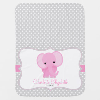 Baby Elephant (pink) Personalized Receiving Blanket