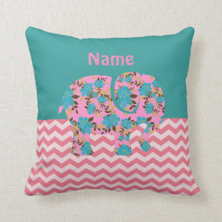 Baby Elephant Pink Turquoise Chevron Named Throw Pillow