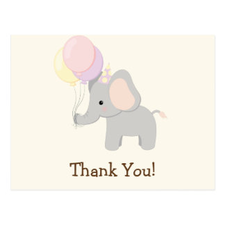 Baby Elephant; Purple Jungle Animal Thank You Postcard