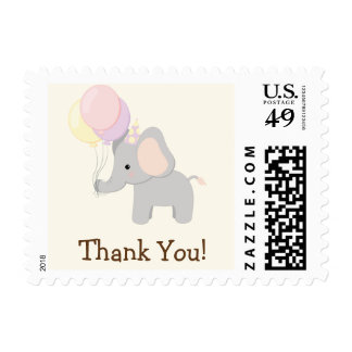 Baby Elephant; Purple Jungle Animal Thank You Stamp