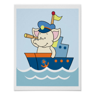 Baby Elephant sailing ship Poster