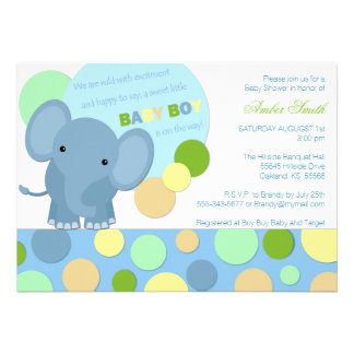 Baby Elephant Shower Invitation Invitations