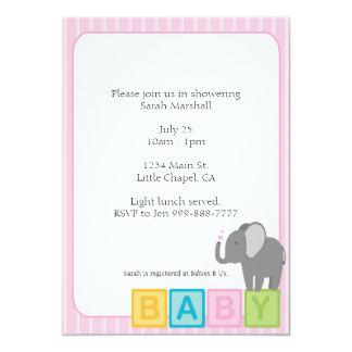 Baby Elephant Shower Invite Pink