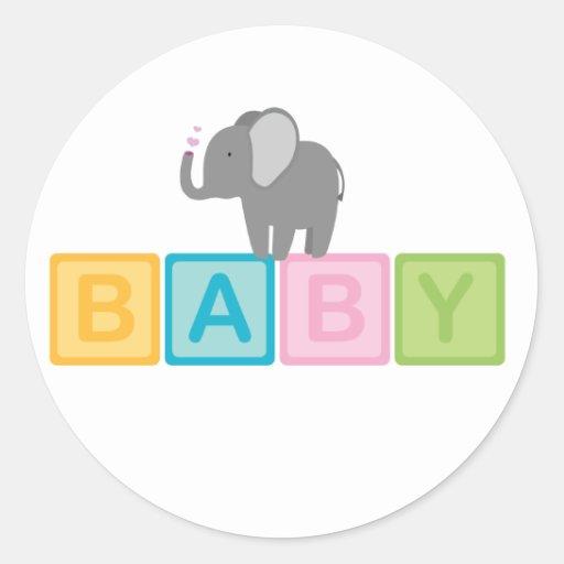 Baby Shower Elephant Stickers ~ Baby elephant shower classic round sticker zazzle