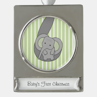 Baby Elephant Silver Plated Banner Ornament