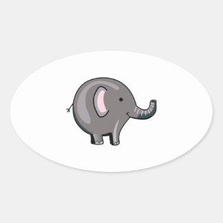 BABY ELEPHANT OVAL STICKER