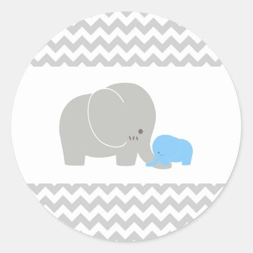 Baby Shower Elephant Stickers ~ Baby elephant sticker shower chevron zazzle