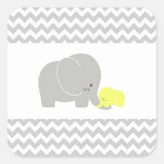 Baby Elephant Sticker Baby Shower Chevron Pattern