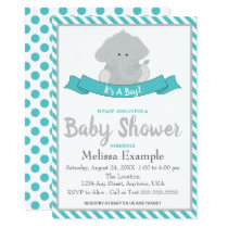 Baby Elephant  & Teal Baby Shower Card