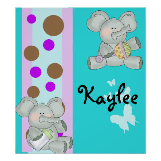 Baby Elephant Teal Brown and Purple Print