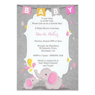 Attractive Baby Elephant Themed Baby Shower Invitation PINK