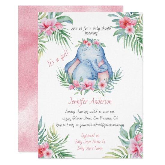 Baby Elephant Tropical Floral Baby Girl Shower Invitation