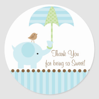 Baby Elephant Umbrella Thank You Sticker