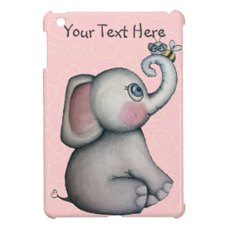 Baby Elephant w Bee Pink Hearts iPad Mini Case