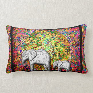 Baby Elephant Walk Lumbar Pillow