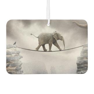 Baby elephant walks tightrope across big gorge.