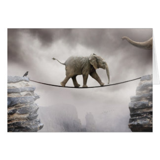Baby elephant walks tightrope across big gorge. greeting card