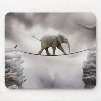 Baby elephant walks tightrope across big gorge. mouse pad