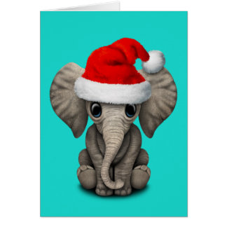 Baby Elephant Wearing a Santa Hat Card